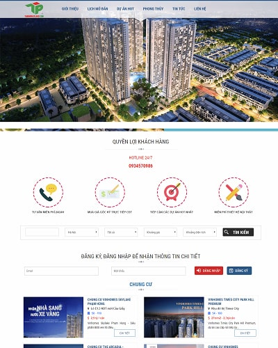 Mẫu website bất động sản MS03