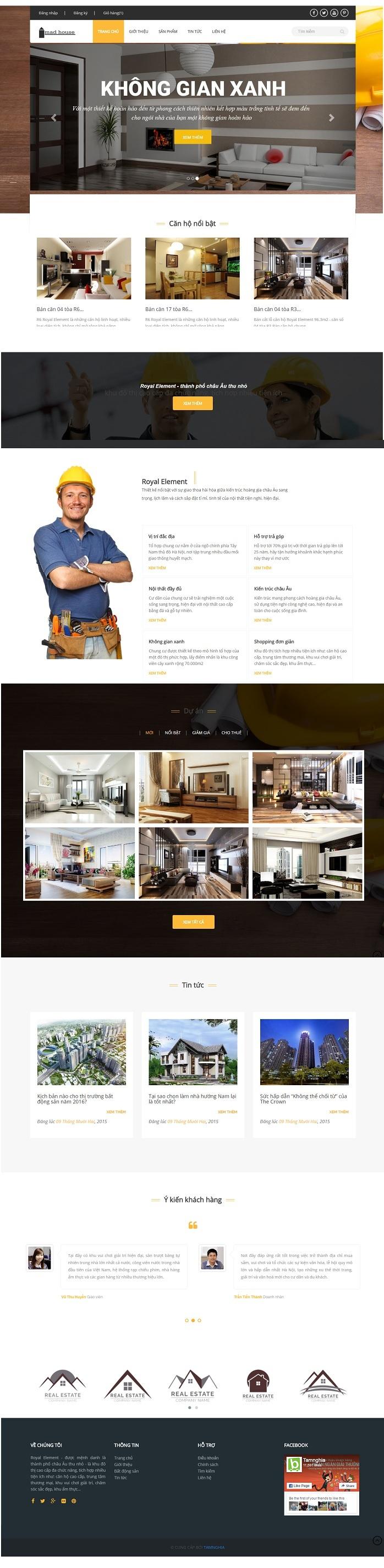 Website Xây dựng nhà ở cao cấp sang trọng