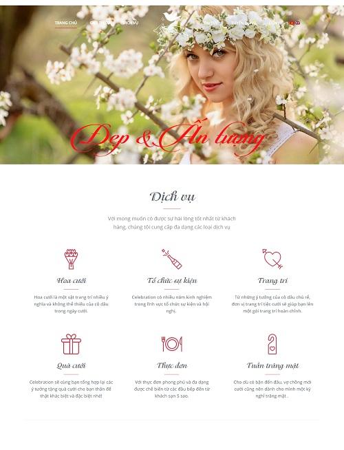 Mẫu website về Tư vấn và Làm đẹp dành cho ngày cưới