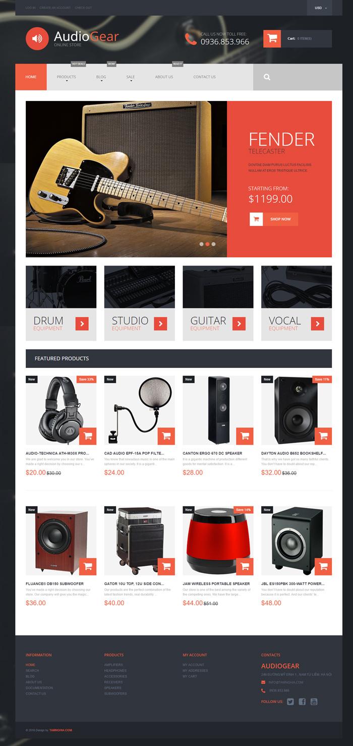 Mẫu website về Bán thiết bị kết nối điện từ cho dụng cụ chơ nhạc