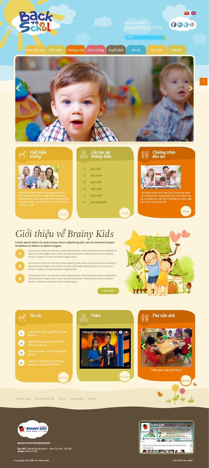 Website Lớp học dành cho bé