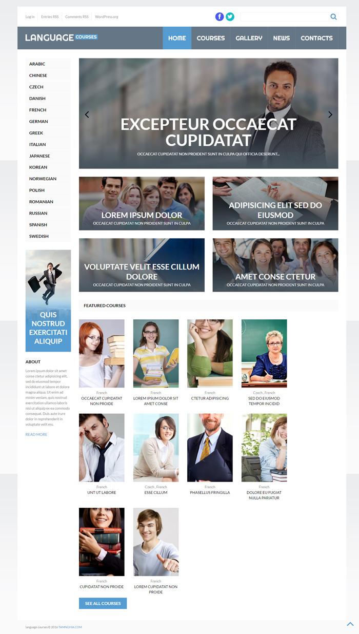 Website Các khóa học ngôn ngữ