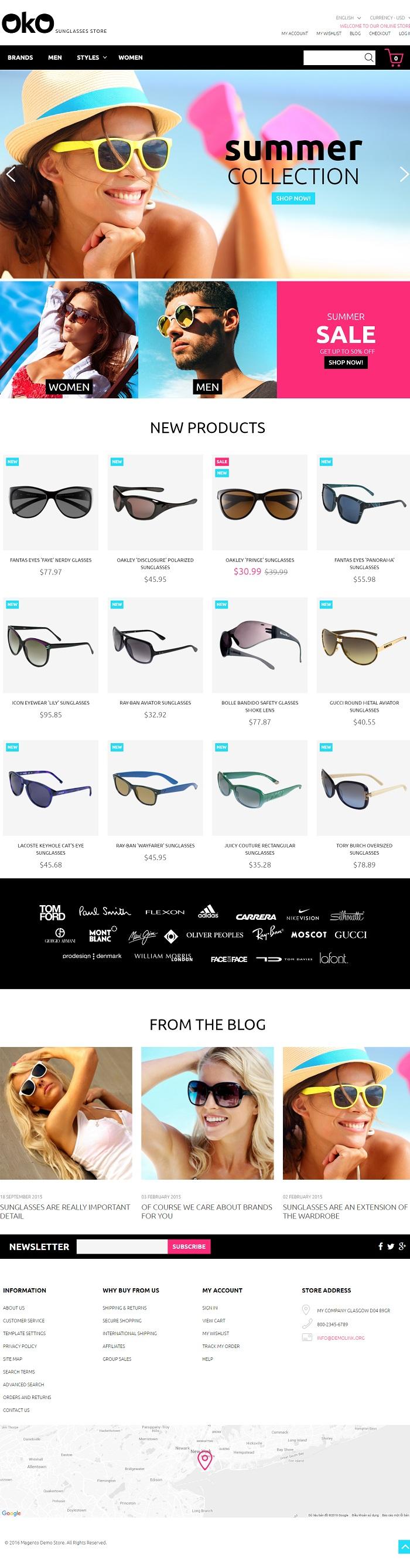 Website Kính mắt thời trang
