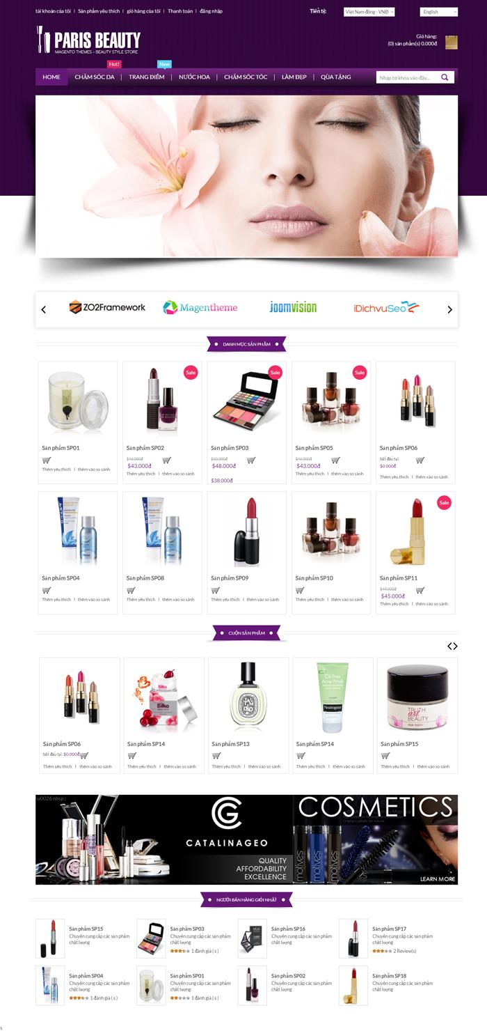 Website Đồ mỹ phẩm cao cấp dành cho phái đẹp