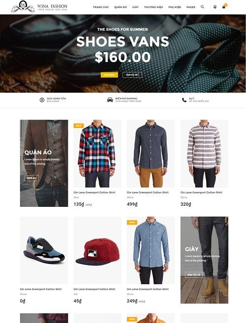 Website Shop quần áo cao cấp sang trọng , quý phái