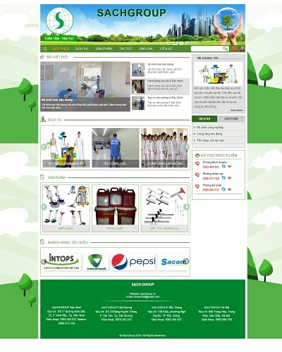 Mẫu website về Dịch vụ Sạch