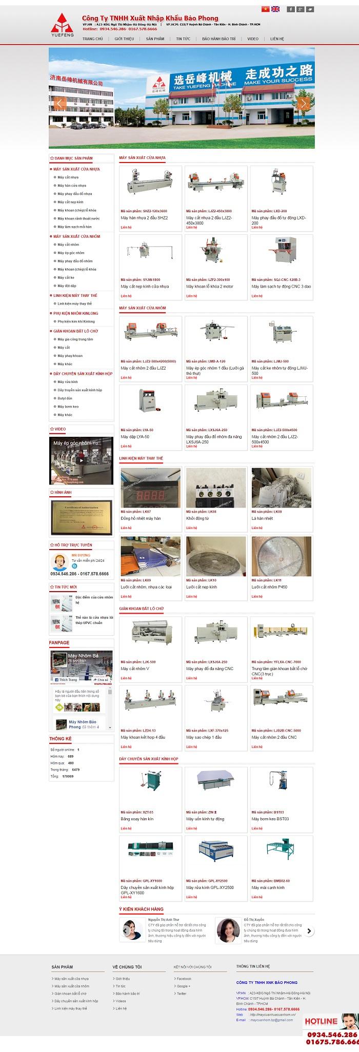 Mẫu website về Đồ thiết bị dành cho doanh nghiệp