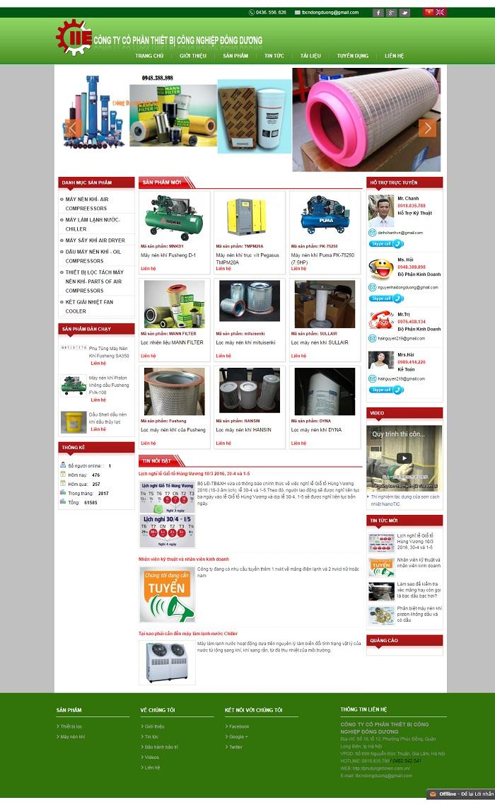 Mẫu website về Thiết bị Đông Dương