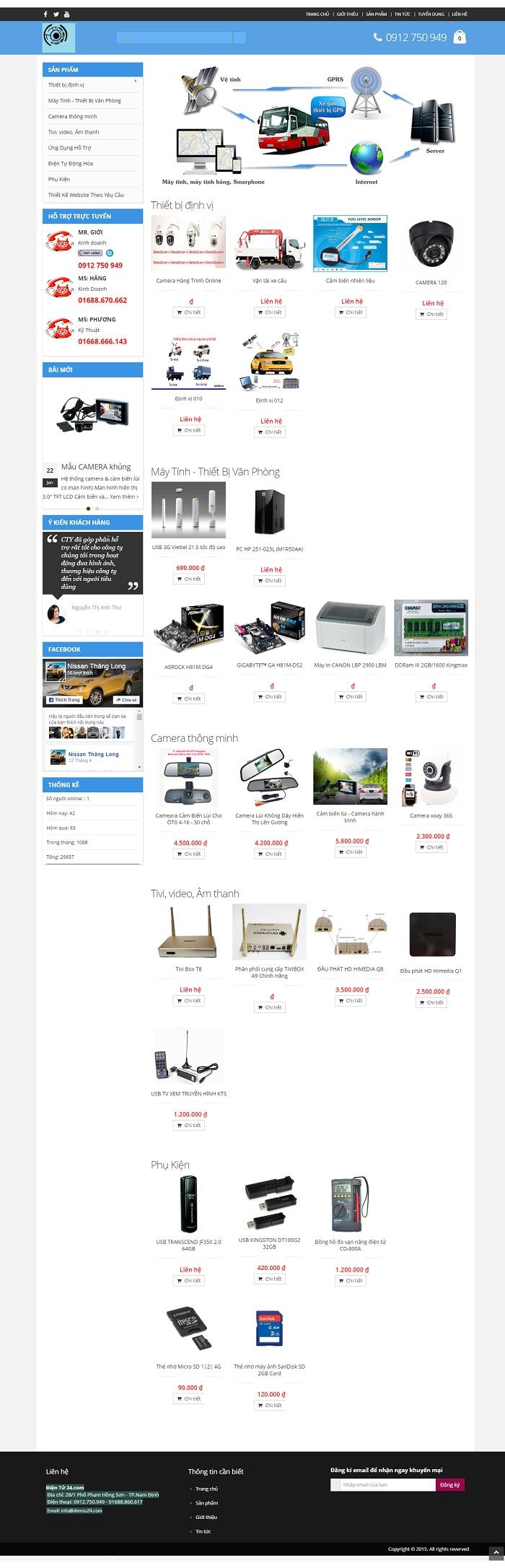 Mẫu website về Hàng điện tử chắt lượng cao